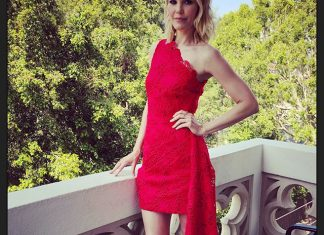 Leslie Bibb in red dress posing for a photograph